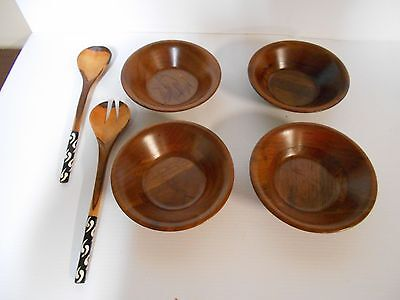 Vintage 4 Wood Wooden Salad Bowls And Wooden Spoon And Fork