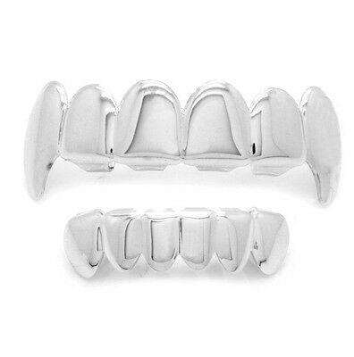 Silver Plated Hip Hop Teeth Grillz Top Fangs & Bottom Grill Set *HIGH QUALITY*