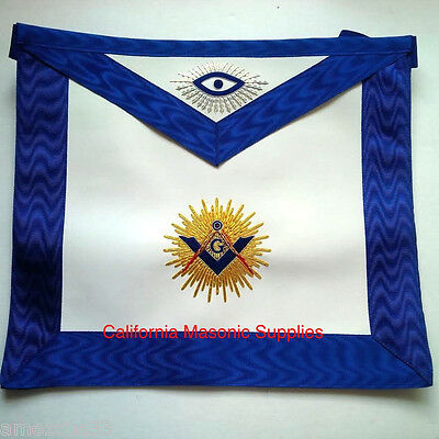 Blue Lodge Master Mason Regalia apron Golden Bullion Embroidery Work Masonry