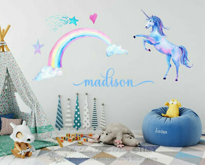 Unicorn Personalized Name Wall Stickers Nursery Kids Decor Horse Gift Art Mural