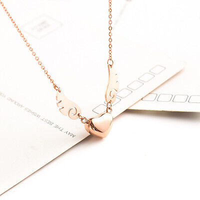 New 18K Rose Gold Plated Angel Wings Cute Flying Heart Pendant Necklace Unique