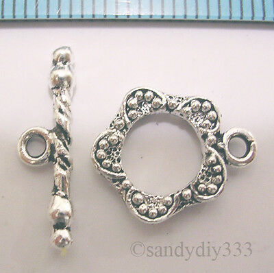 1x STERLING SILVER FLOWER TOGGLE CLASP 11mm #387