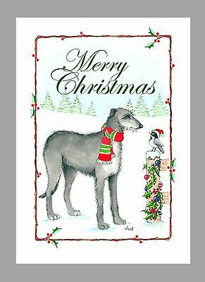 Scottish Deerhound Christmas Cards, Box of 16 Cards & 16 Envelopes