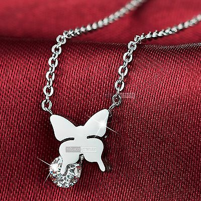 14k gold gf made with swarovski crystal butterfly pendant necklace small cute