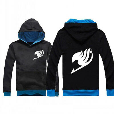 Thin Hooded Coat Sweatshirt Anime Fairy Tail Guild Emblem Casual Black Hoodie