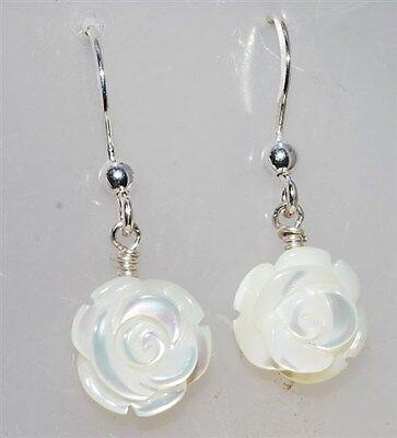 Mother of Pearl carved Rose silver earrings