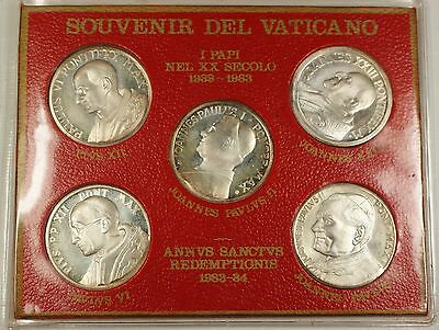 1983-4 Vatican Anno Santo 5 Popes Silver Plated Medal Set