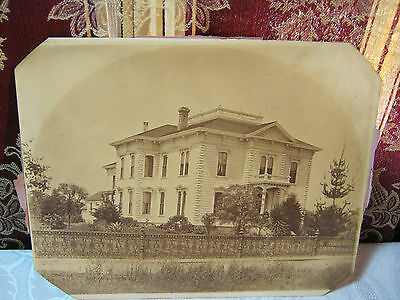 """Victorian Mansion House with wrought Iron Fence Large 10"""" Antique Photo"""