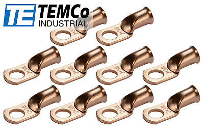 """10 Lot 2 AWG 3/8"""" Hole Ring Terminal Lug Bare Copper Uninsulated Gauge"""