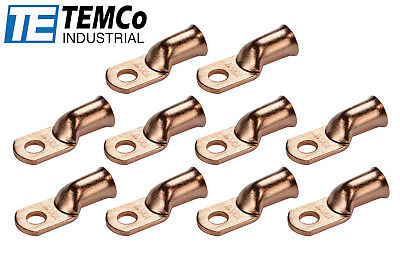 """10 Lot 1/0 5/16"""" Hole Ring Terminal Lug Bare Copper Uninsulated AWG Gauge"""