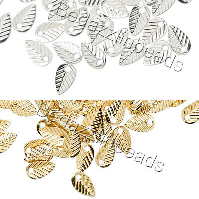 Lot of 144 Little 7mm Double Sided Leaf Drop Charms Plated Brass Base Metal