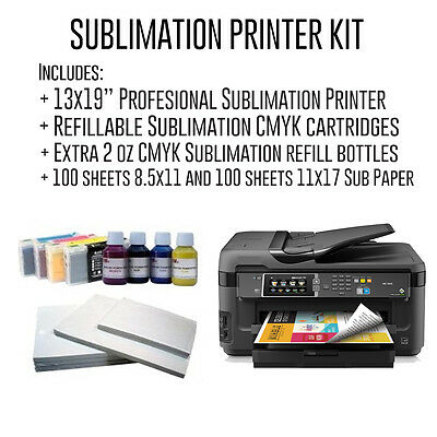 "Complete Professional 13x19"" Sublimation Kit with Refillable cartridges + papers"