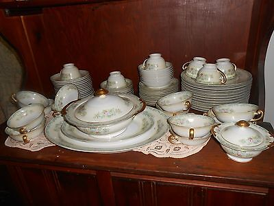 72 Piece Meito China Made in Japan Hand Painted Lot Vintage dinner set.