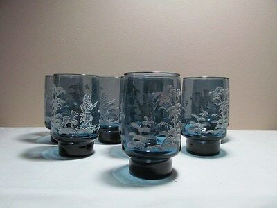 *8 Libbey Mary Gregory Blue Tumblers