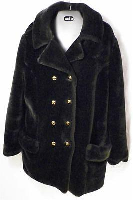 BORG Vintage Double Breasted Fully Lined Faux Mink Fur Pea Coat Womens M to L