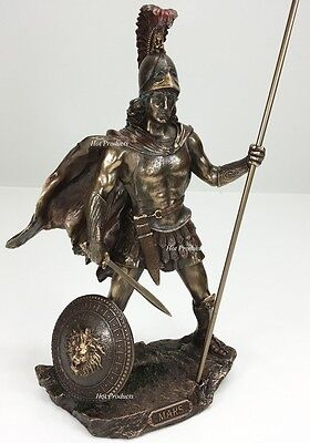 "13"" MARS GOD OF WAR GREEK MYTHOLOGY SWORD & SPEAR Statue Sculpture Bronze Finish"
