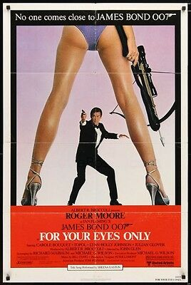 Vintage 1981 FOR YOUR EYES ONLY 1sh Roger Moore as James Bond 007 Ian Fleming