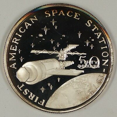 1989 Marshall Islands $50 Proof Silver Commem Coin 1st American Space Station