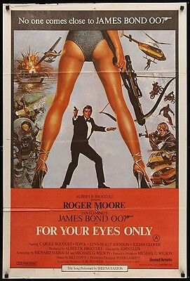 Vintage 1981 FOR YOUR EYES ONLY James Bond 007 Roger Moore Spy Action Thriller