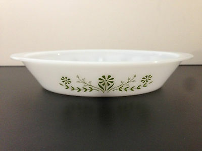 Glasbake #J-2352 Green Daisy Floral Pattern Divided Baking Vegetable Dish