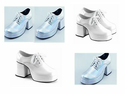 Platform Shoes - Silver / White / Black  Retro 70's Disco Platform Shoes