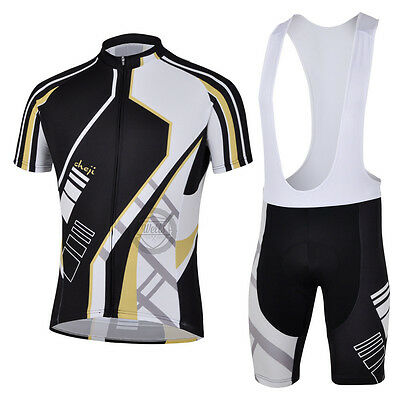Men's Cycling Bike Racing Short Sleeve Jersey and Bib Shorts with Coolmax Padded