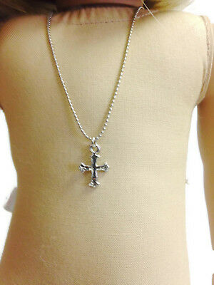 """Silver Cross Necklace made for 18"""" American Girl Doll Clothes Accessories"""