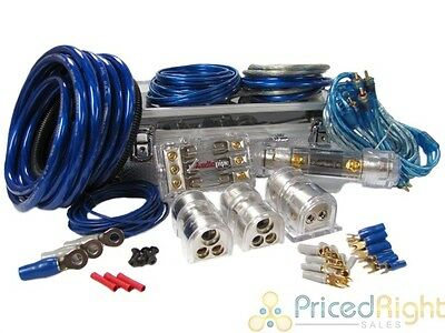Dual 4 to 8 Ga. 2 Way Amplifier Car Audio Wiring Two Amp Power Wire Install Kit