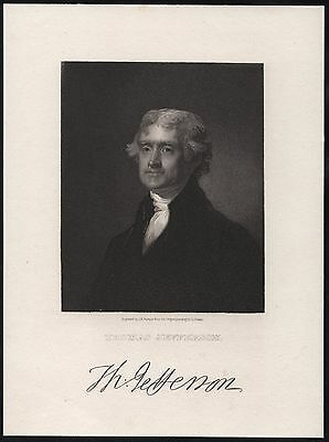 Thomas Jefferson Vignette Engraved W/ Signature; Engraved On Card Hv8146