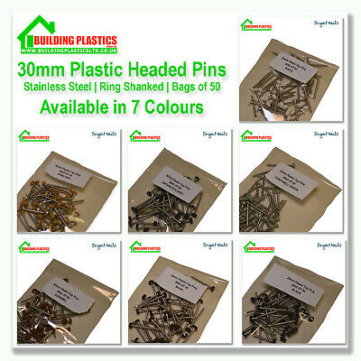 50 x 30mm Plastic Top UPVC  Pins Nails Plastic Headed stainless Steel