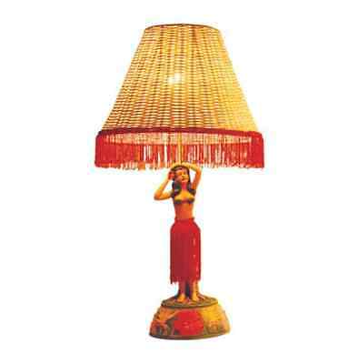 "Vintage Style Motion Hula Lamp  26"" -  Hula Girl with Hibiscus Flower Posing"