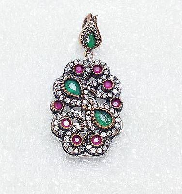925 Sterling Silver Pendant Emerald Ruby Cz Crystal Bronze Victorian Style
