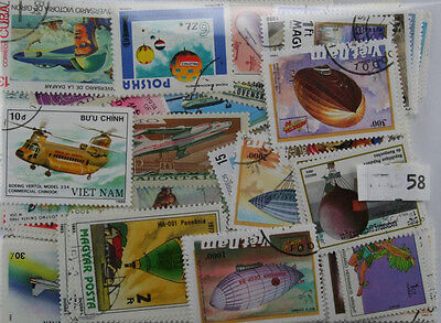 200 Airplanes, Hot Air Balloons, Helicopters stamps (58)