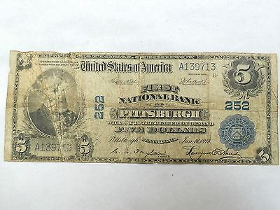 Coinhunters-$5 1902 First National Bank of Pittsburgh #252~Plain Back~Circulated