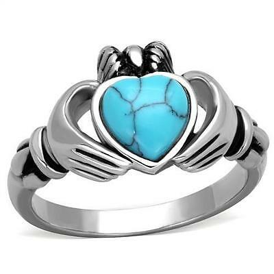 Stainless Steel King Claddagh Blue Turquoise Heart Irish Celtic Ireland Ring