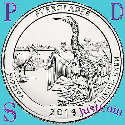 2014 Pds Everglades National Park (Fl) Three Quarters Set Uncirculated