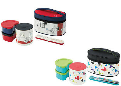 Disney Mickey Mouse stainless steel jar with warm lunch box w/fork japan import