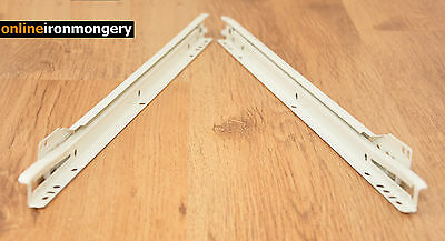 METAL ROLLER BOTTOM FIX DRAWER RUNNERS from 300mm to 550mm White