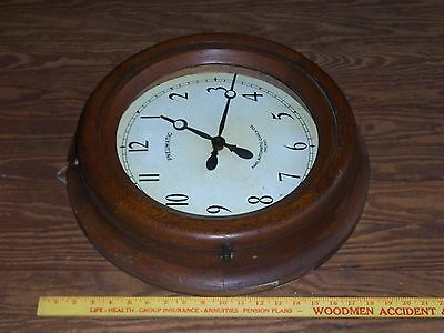 Antique Hahl Automatic Clock Co Pneumatic Oak Case Industrial Wall Clock Vintage