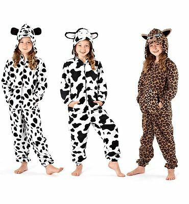Unisex Kids Dog Cow All In One Pyjamas Full Suite Animal Sleepwear Age 3-13 Year