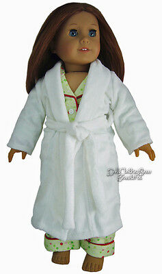 """White Terry Bathrobe made for 18"""" American Girl Doll Clothes COMFY SOFT"""