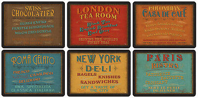 Pimpernel Lunchtime Placemats Set of 6 Retro Signs Design Table Mat Boxed Gift