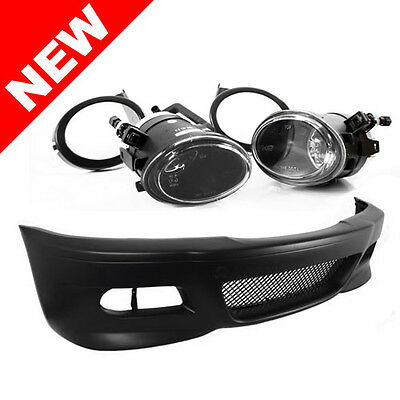 99-06 BMW E46 3-SERIES M3 STYLE FRONT BUMPER W/ CLEAR ECODE FOG LIGHTS + COVERS