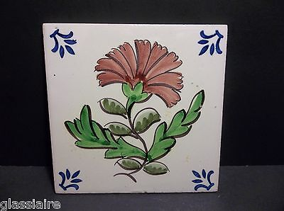 "Vintage VIUVA LAMEGO Decorative Hand Painted Tile Pink FLOWER 5 5/8"" PORTUGAL"
