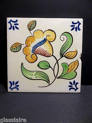 "Vintage VIUVA LAMEGO Decorative Hand Painted Tile Yellow FLOWER 5 5/8"" PORTUGAL"