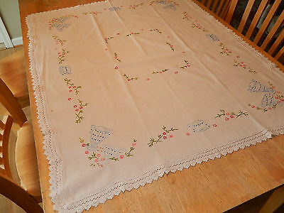 "Vintage Square Hand Embroidered Tea Tablecloth with Crochet Edge 34"" x 42"""