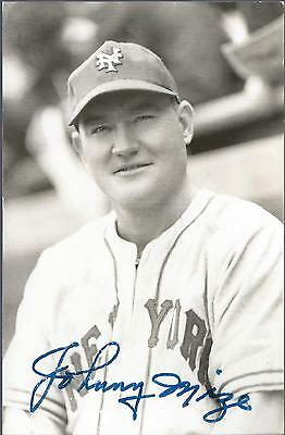 Johnny Mize New York Giants Autograph Signed Photo Postcard