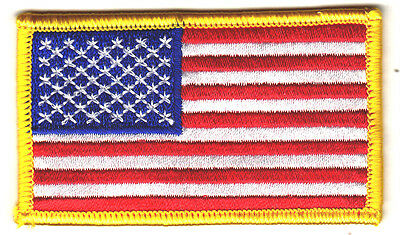 """AMERICAN FLAG w/YELLOW BORDER (3 1/4"""" x 2"""")-Iron On Patch/Patriotic,USA,Military"""