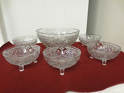 Older 6-pc Pressed clear Glass 3-Toed Berry Set-Floral,Button,Star Patterns