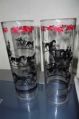 Mid Century Glasses - Winter Holiday Tom Collins Size - Horse & Carriage